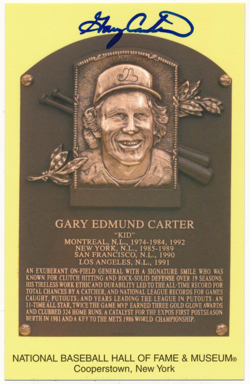 Lot #148  Yellow HOF Plaque # 25 Gary Carter (JSA LOAA) Cond: 9.5