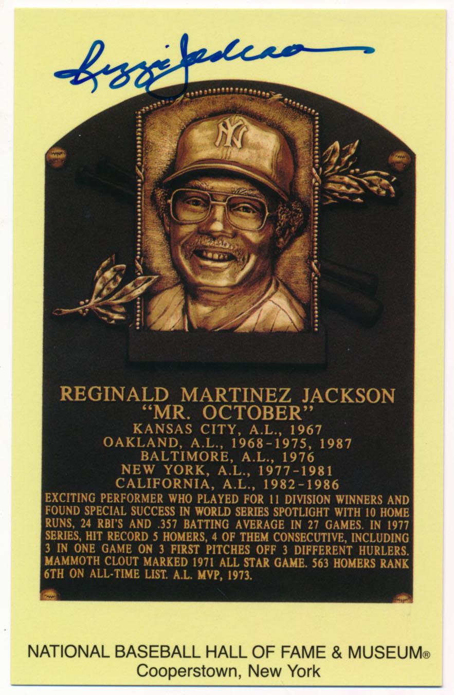 Yellow HOF Plaque 83 Reggie Jackson 9.5 JSA LOA (CARD)