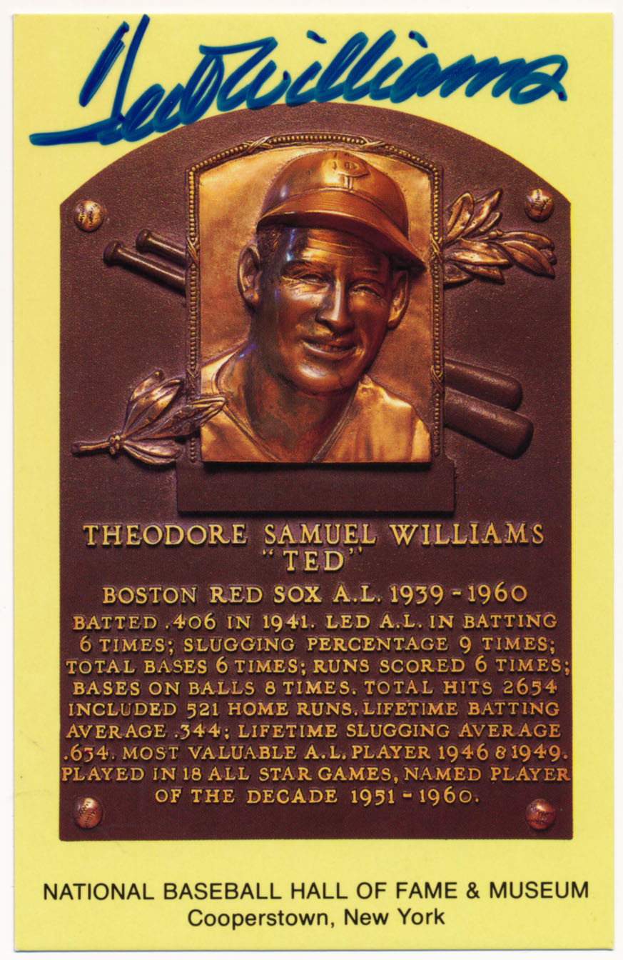 Yellow HOF Plaque 176 Ted Williams 9.5 (superb)