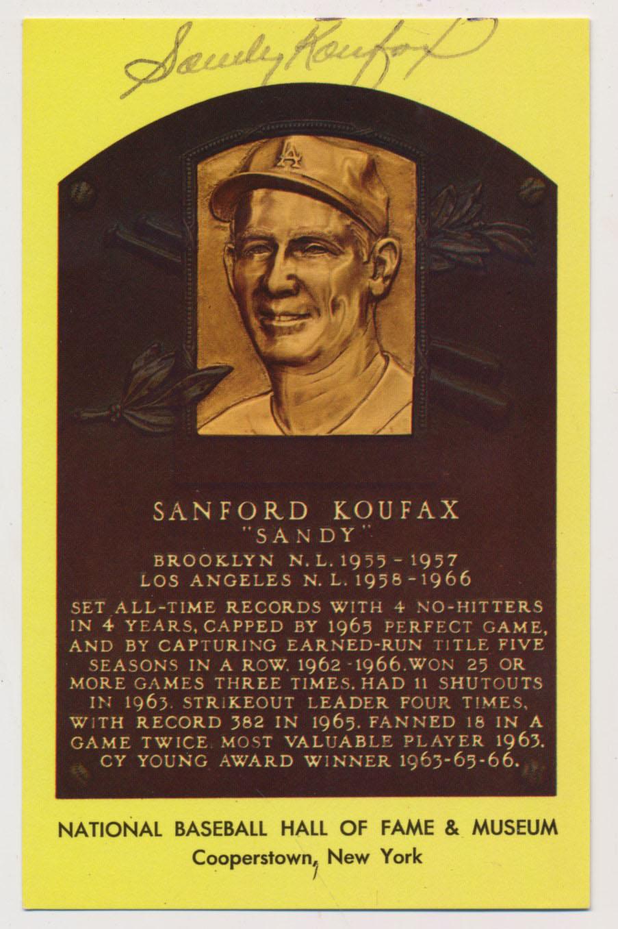 Yellow HOF Plaque 95 Sandy Koufax 7
