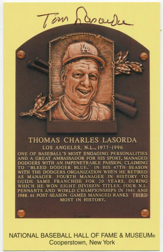 Lot #265  Yellow HOF Plaque  Tom LaSorda (JSA LOA) Cond: 9.5