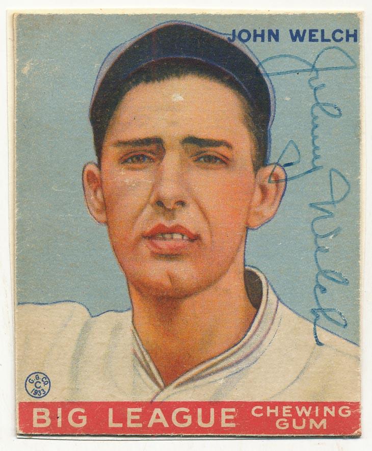 Lot #50 1933 Goudey # 93 John Welch (rare) Cond: 8.5