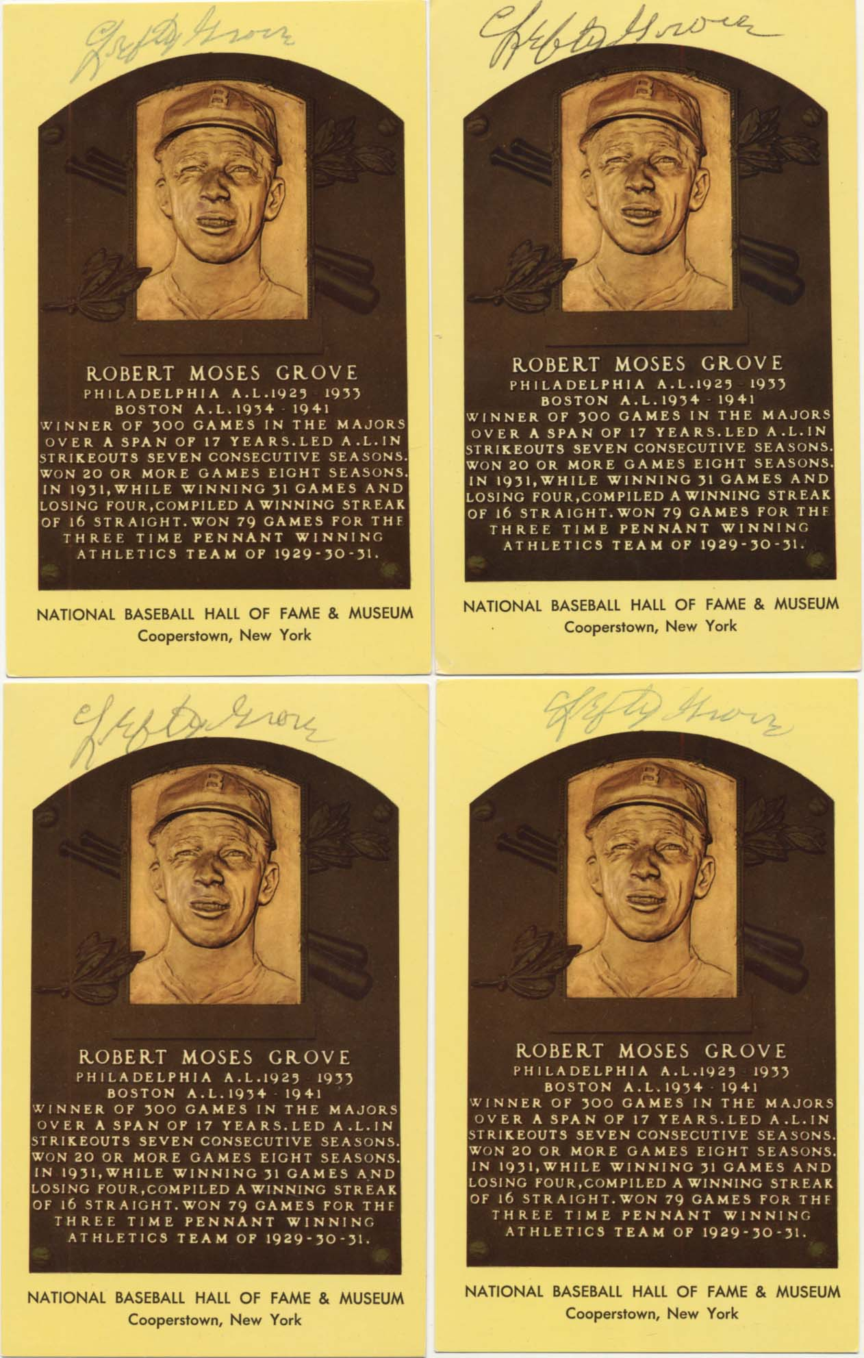 Lot #66  Yellow HOF Plaque  Lefty Grove (lot of 10) Cond: 8