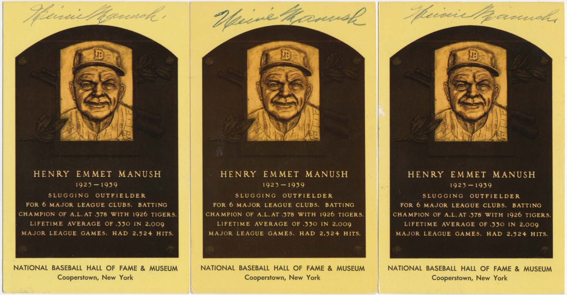 Lot #70  Yellow HOF Plaque  Heinie Manush (lot of 3) Cond: 8
