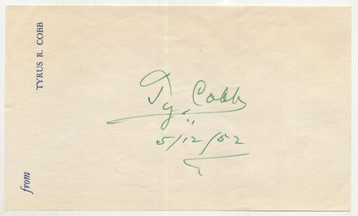 Lot #56  Album Page  Cobb, Ty (1952, superb) Cond: 9.5