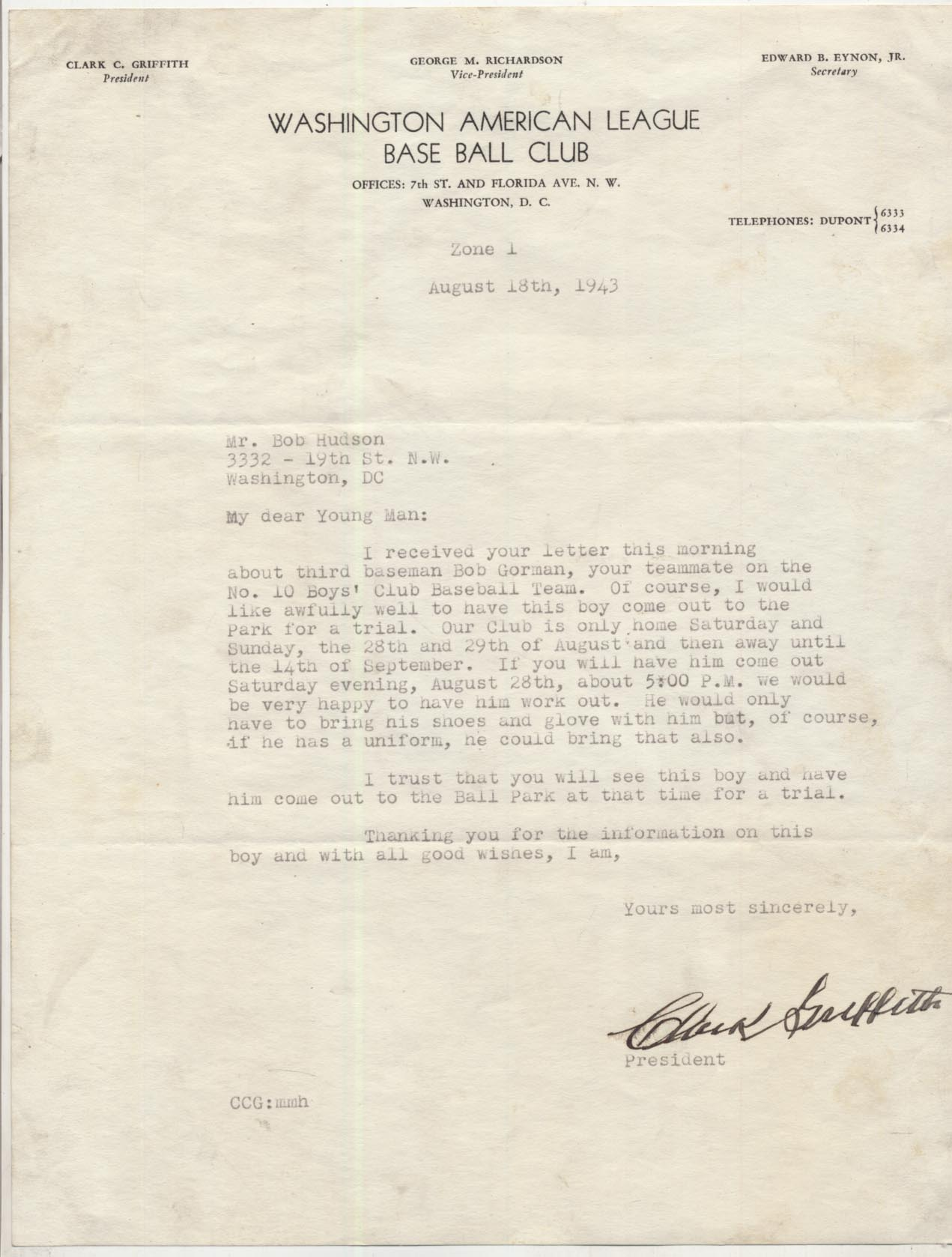 Lot #7  Letter  Griffith, Clark Cond: 9.5