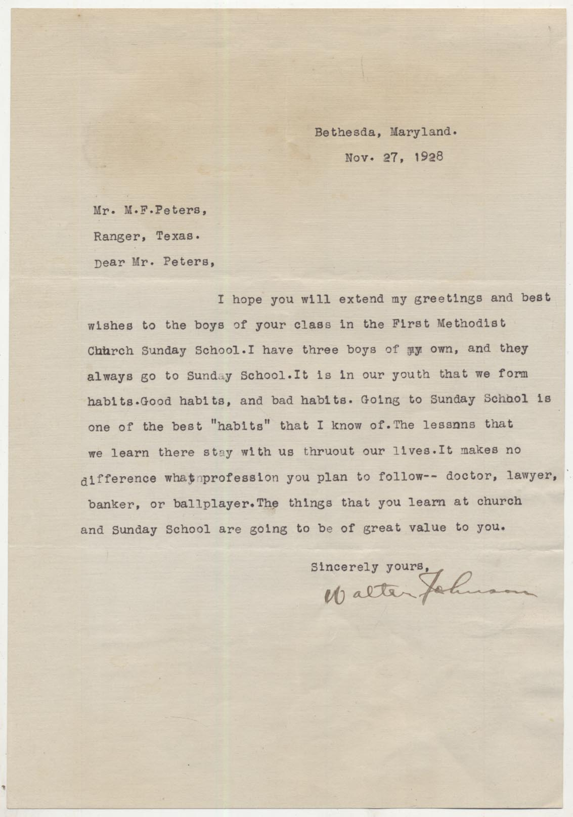 Lot #8  Letter  Johnson, Walter (1928) Cond: 9