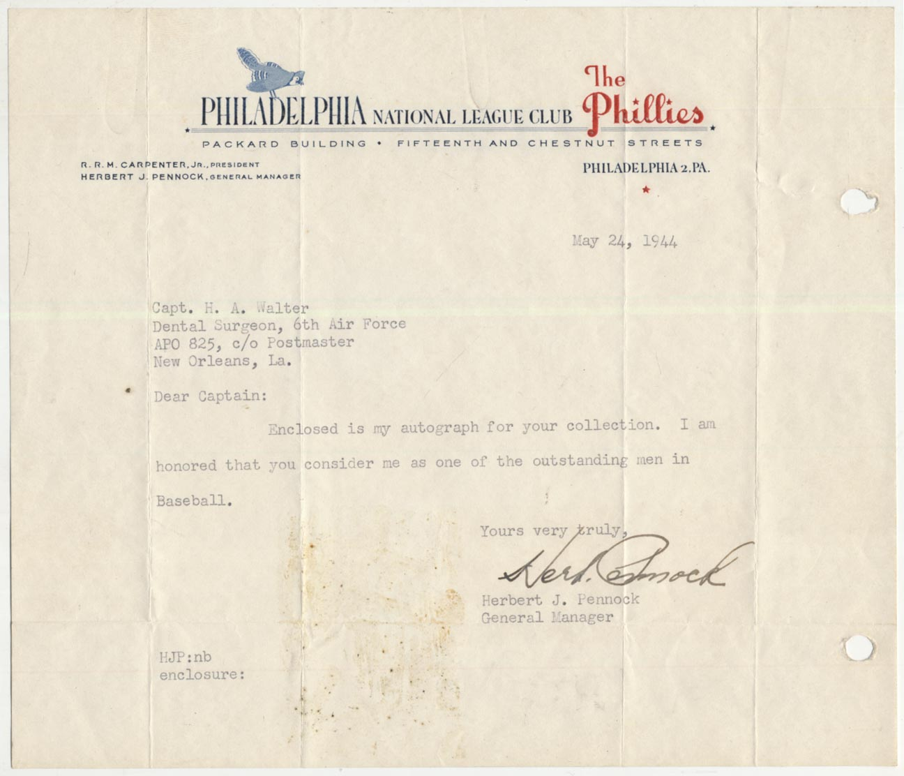 Lot #10  Letter  Pennock, Herb Cond: 9