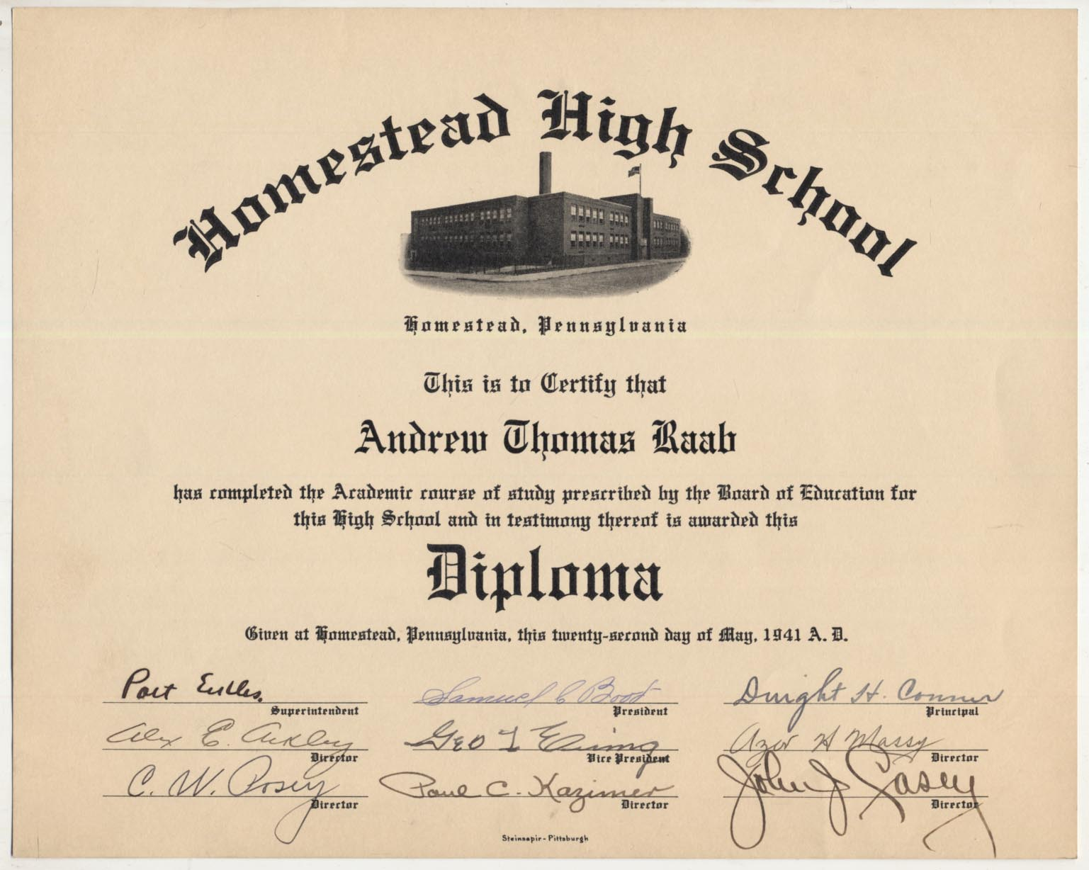 Lot #93  Document  Posey, Cumberland Signed High School Diploma Cond: 9