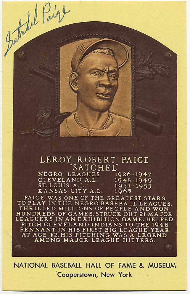 Lot #72  Yellow HOF Plaque  Satchel Paige (lot of 2) Cond: 9.5
