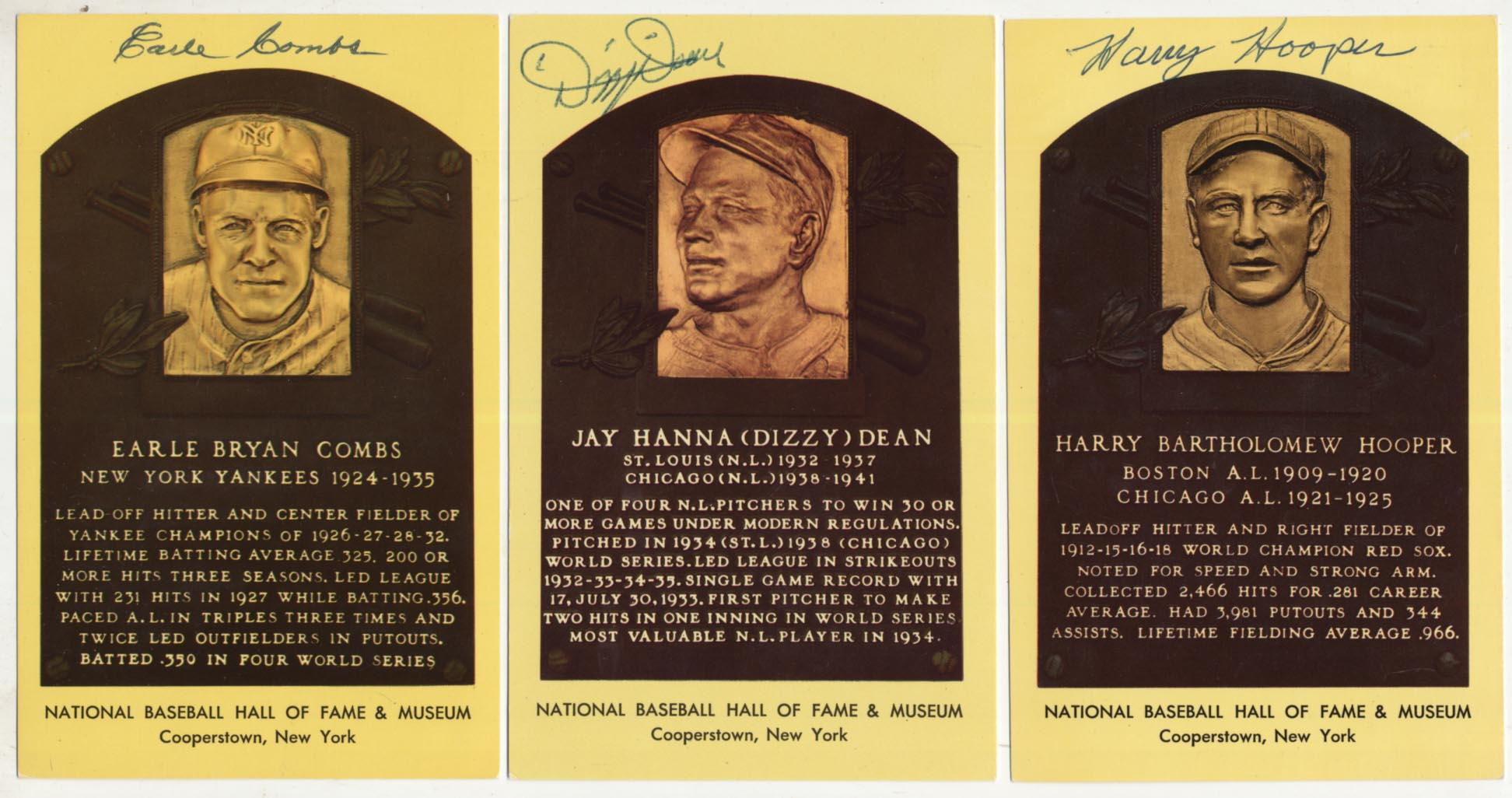 Lot #77  Yellow HOF Plaque  Collection of 3 Key Pieces Cond: 9
