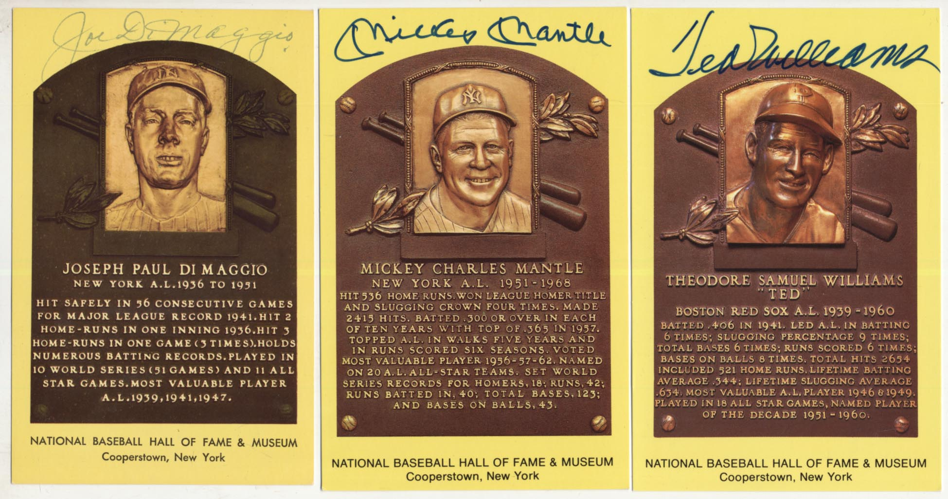 Lot #65  Yellow HOF Plaque  DiMaggio, Mantle & Williams Cond: 9.5