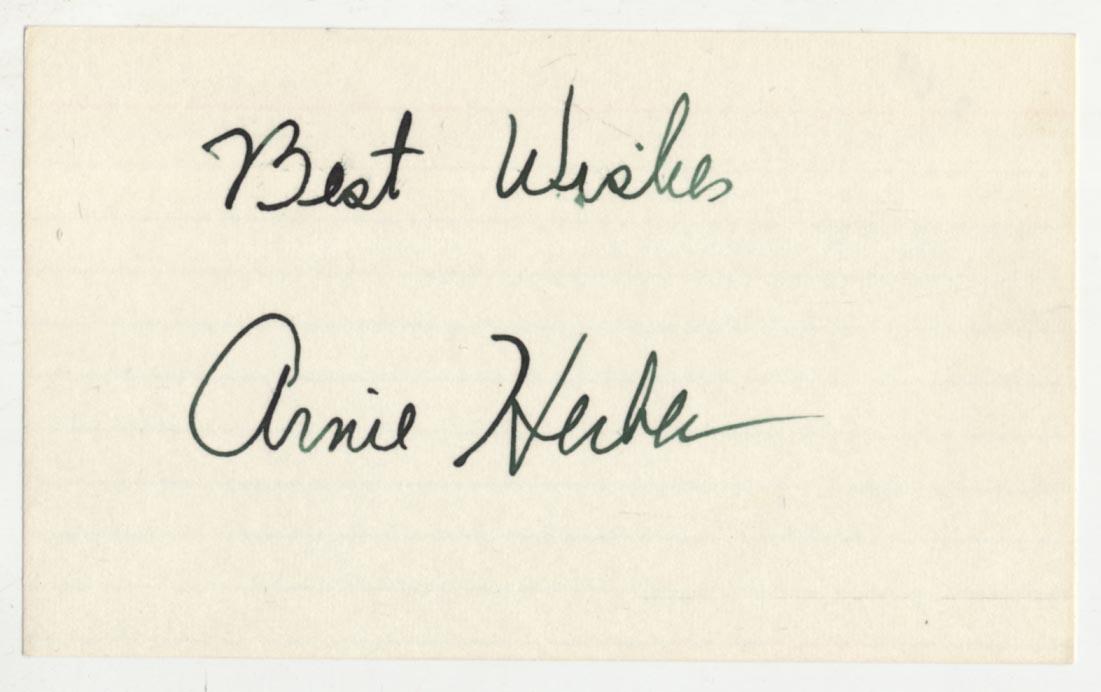Lot #946  3 x 5  Herber, Arnie (fountain pen) Cond: 9.5