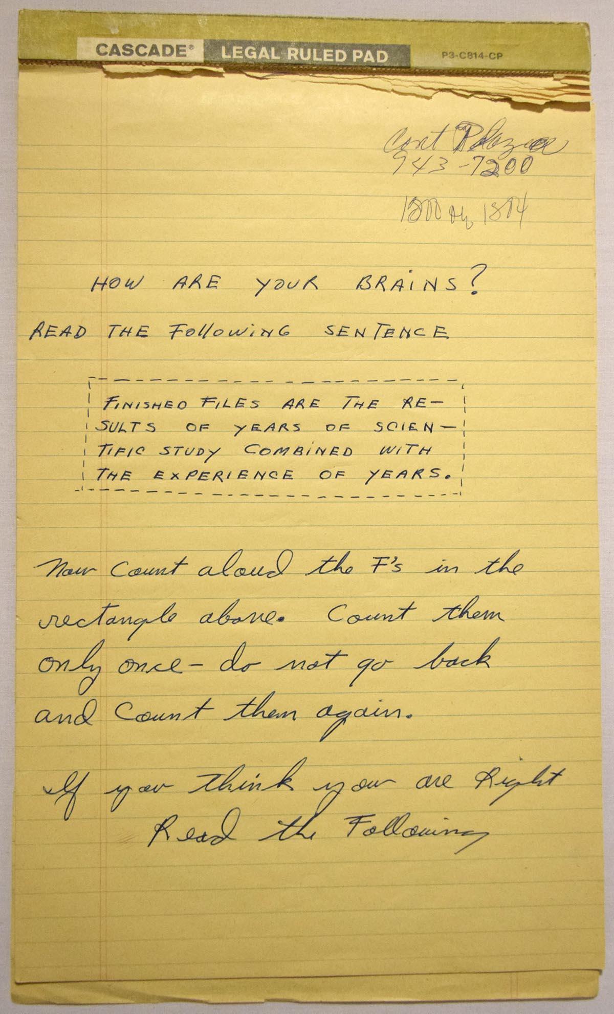 Lot #951    Ali, Muhammed Handwritten Brain Teaser Cond: 9.5