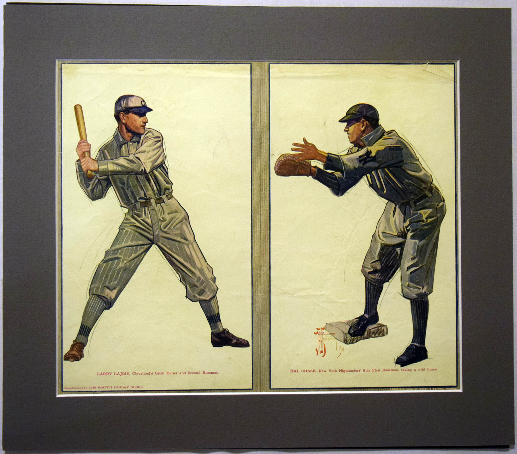 Lot #50 1910 Boston Sunday Globe  Hal Chase/Nap Lajoie Premium Cond: Good