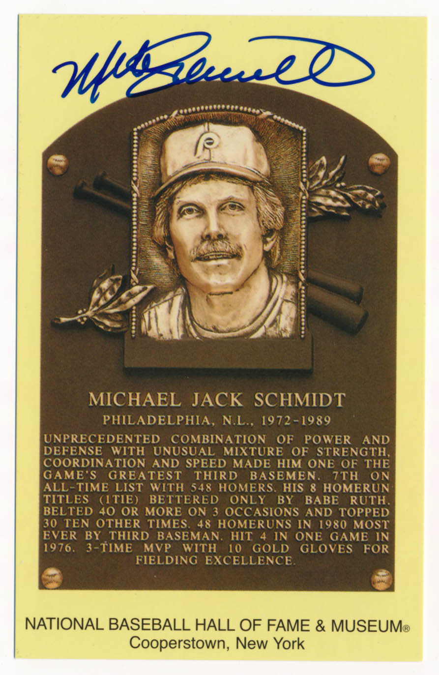 Lot #161  Yellow HOF Plaque # 131 Mike Schmidt (JSA LOA) Cond: 9.5