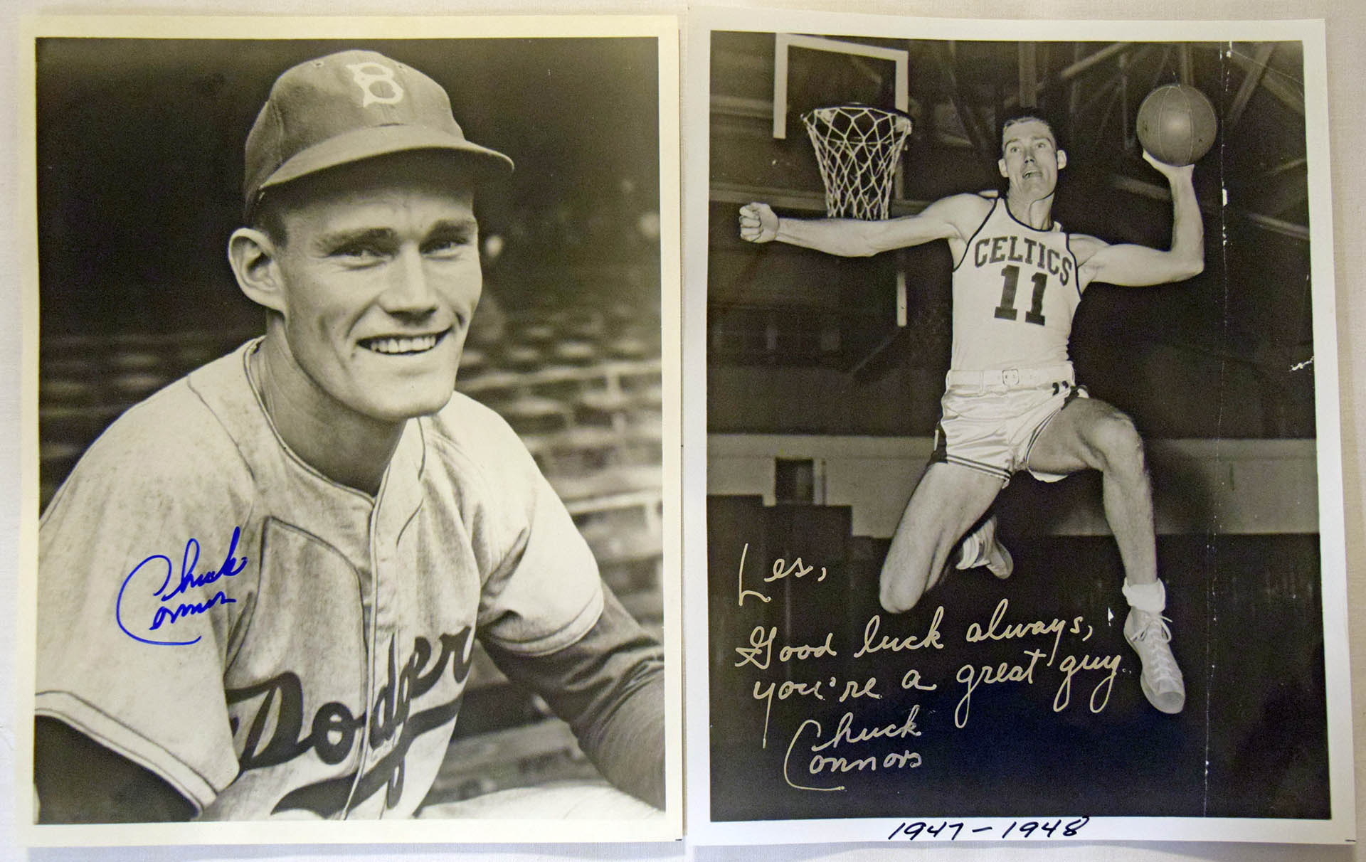 Lot #193  8 x 10  Connors, Chuck (lot of 2) Cond: 9.5