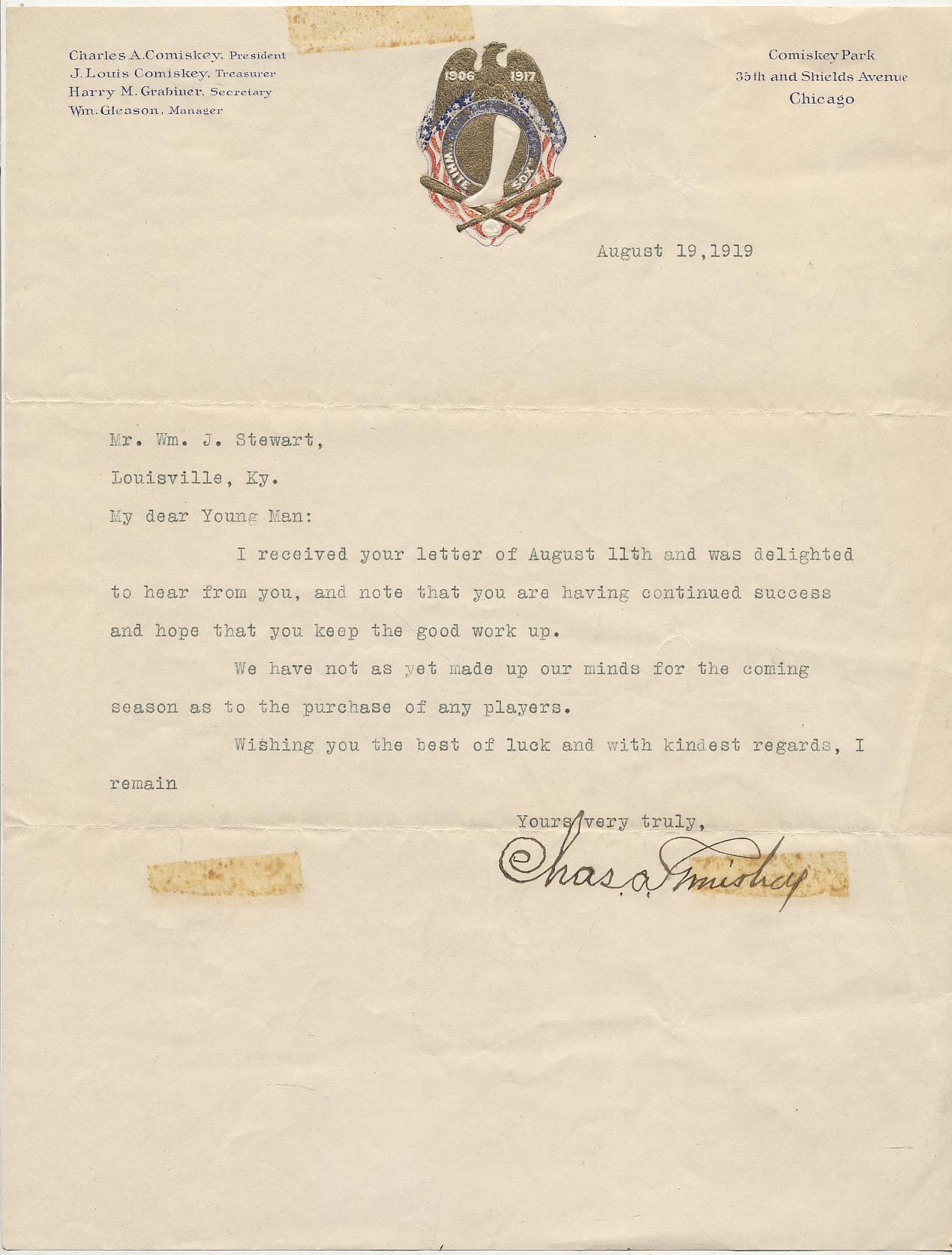 Lot #6  Letter  Comiskey, Charles (from 1919!) Cond: 9