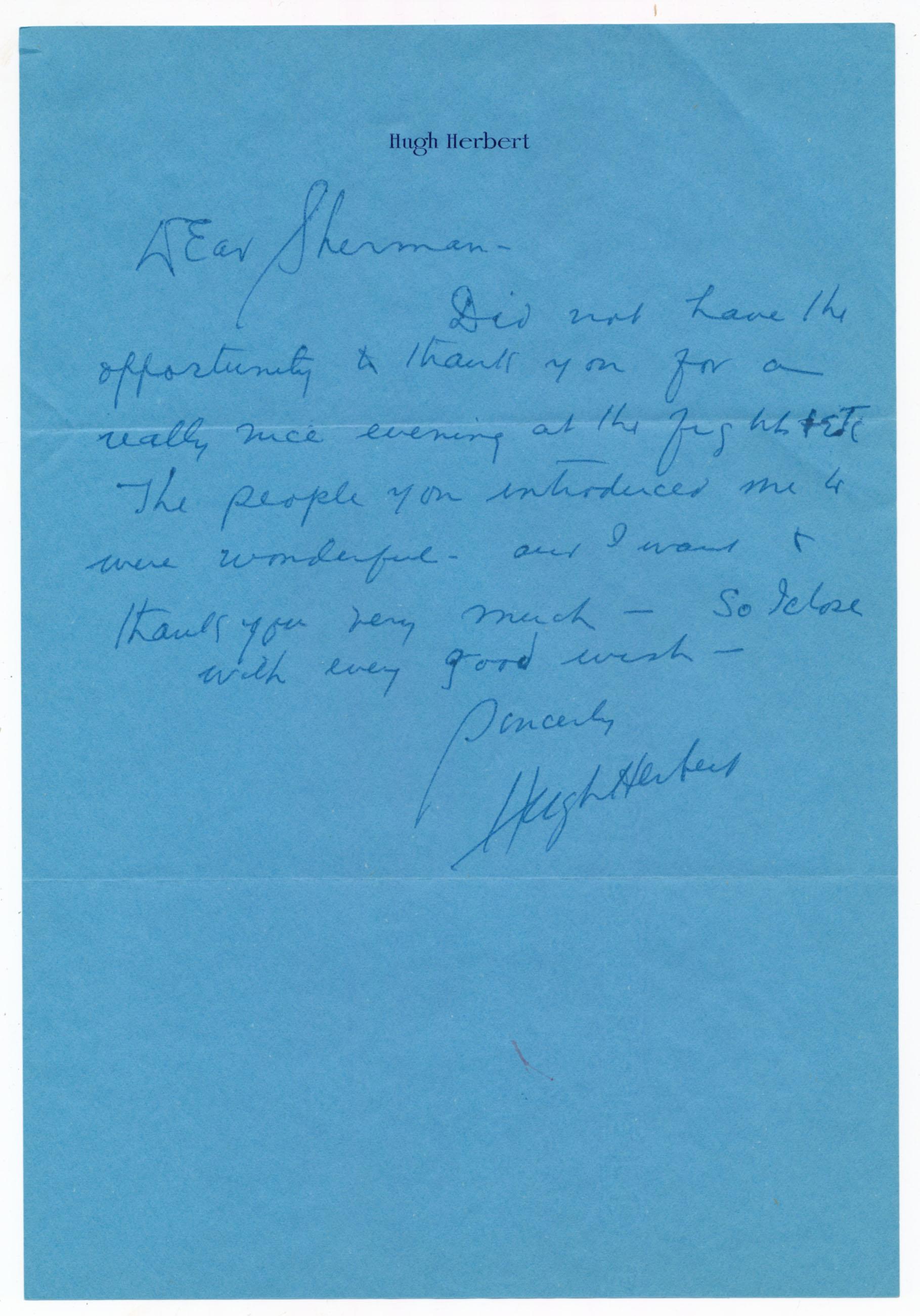 Lot #798  Letter  Herbert, Hugh ALS (JSA LOAA) Cond: 9.5