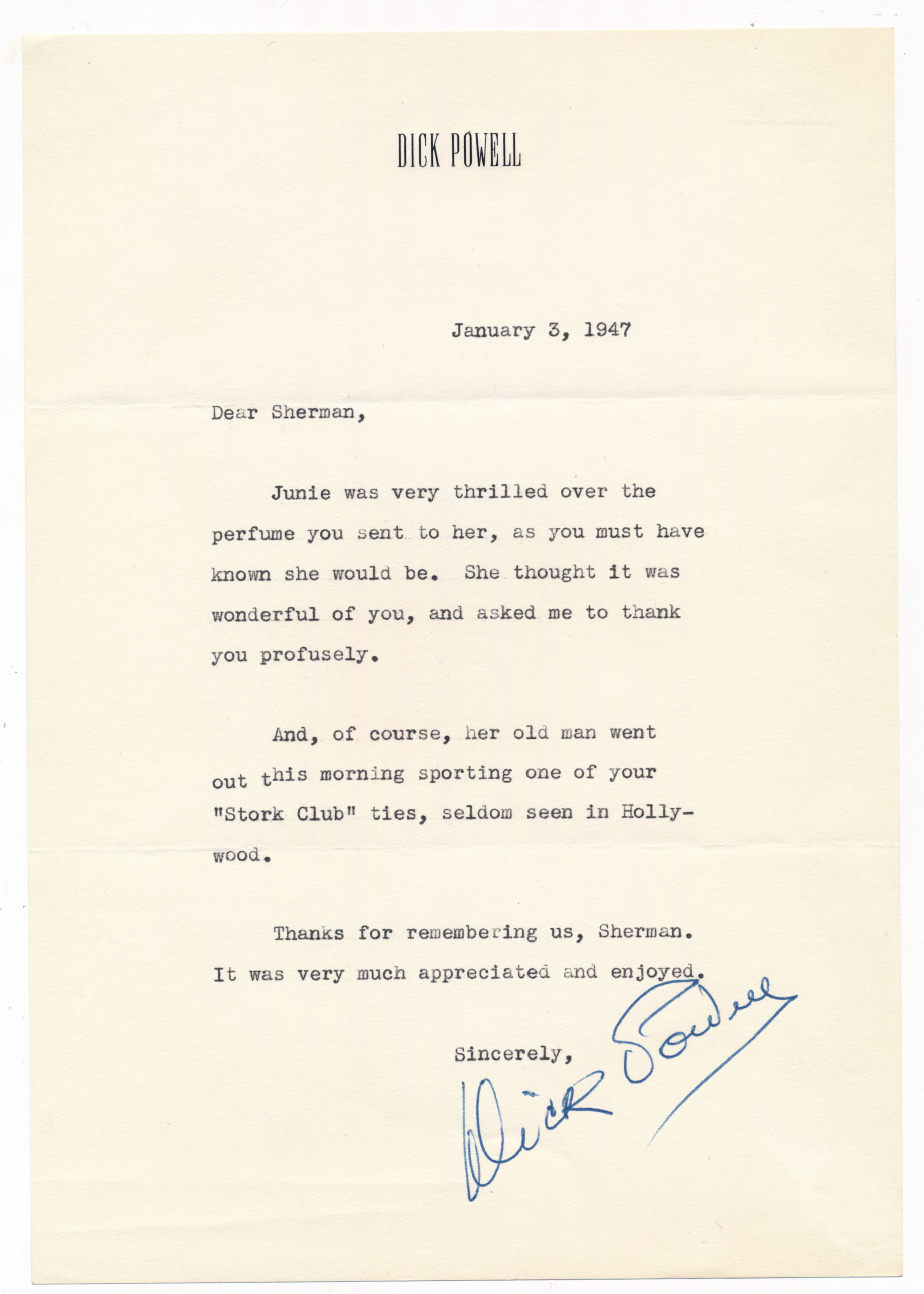 Lot #803  Letter  Powell, Dick 1947 TLS Cond: 9