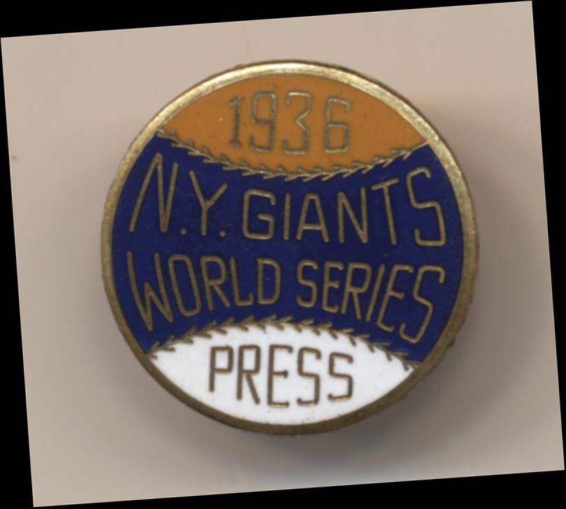 1936 Press Pin  New York Giants NM