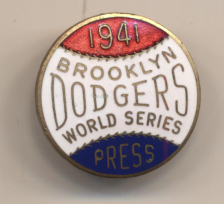 1941 Press Pin  Brooklyn Dodgers NM