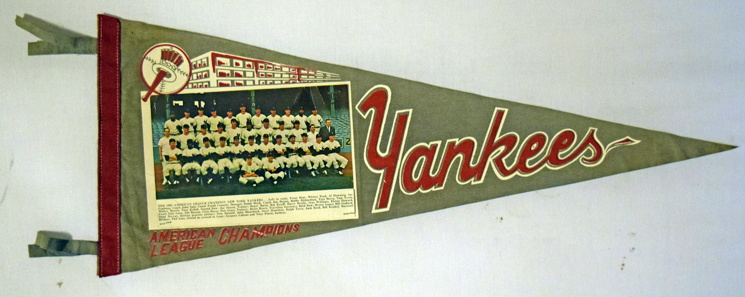 Lot #2321 1963 Pennant  New York Yankees Photo Pennant Cond: Ex