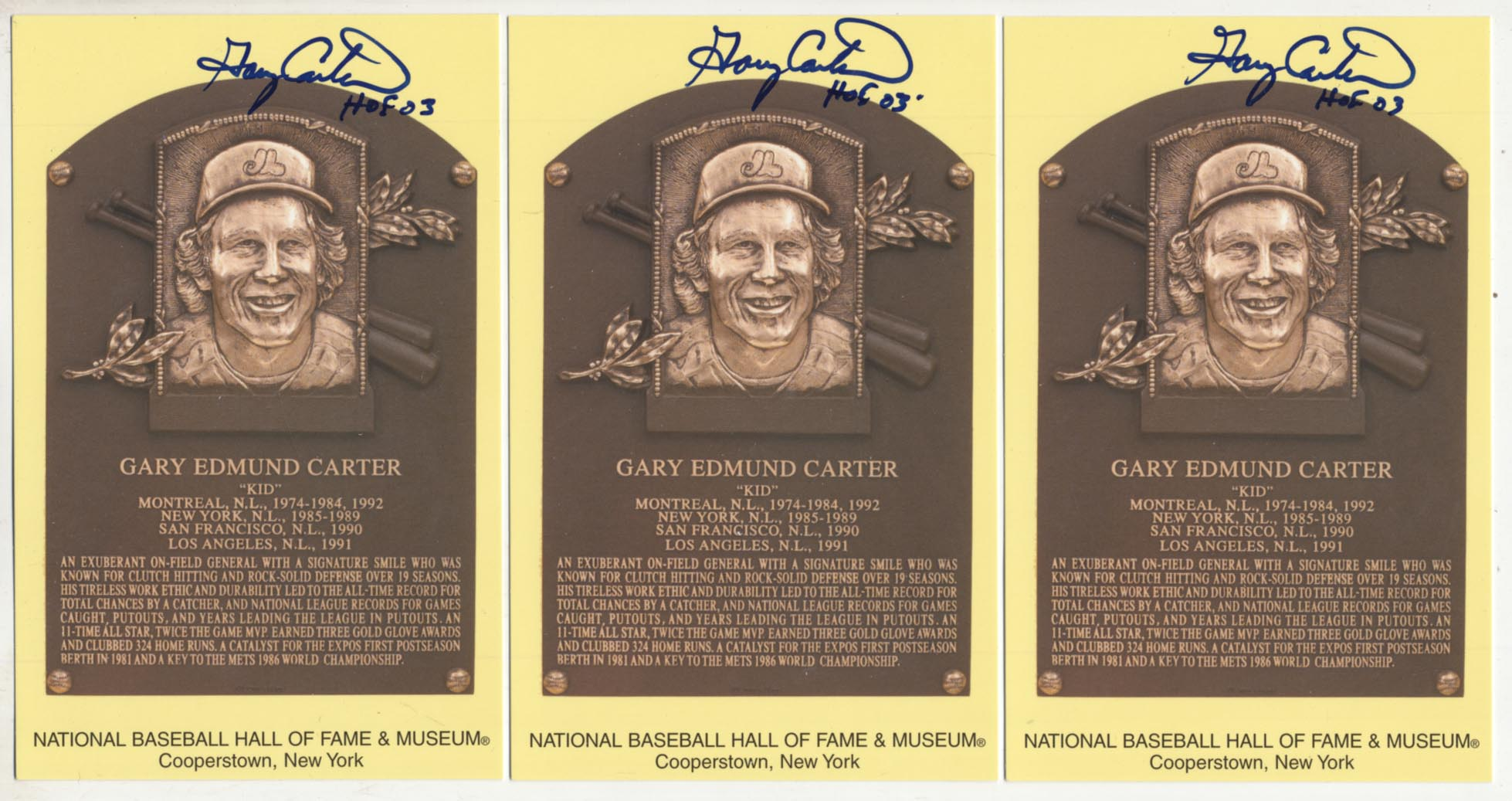 Lot #63  Yellow HOF Plaque  Gary Carter (lot of 10) Cond: 9.5