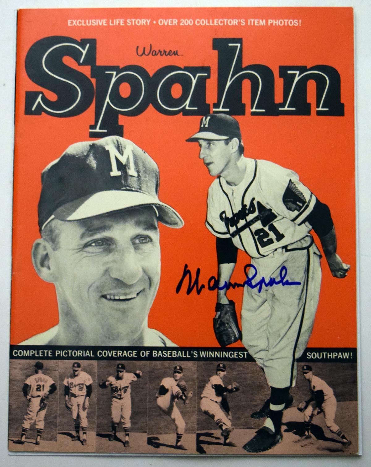 Lot #769  Program  Spahn, Warren Signed Spahn Pictorial (JSA LOA) Cond: 9.5