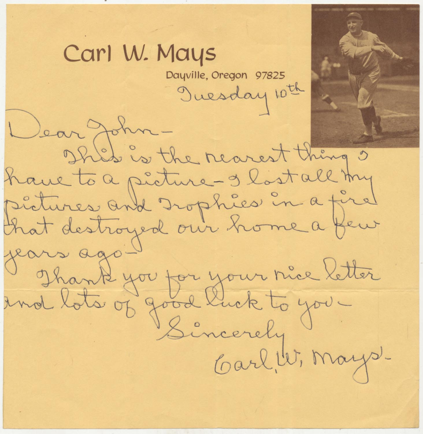 Lot #366  Letter  Mays, Carl Cond: 9.5