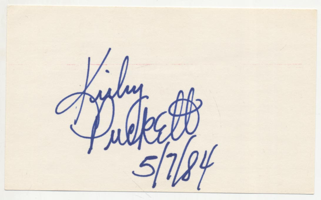 Lot #49  3 x 5   Puckett, Kirby (signed before first game ever!) Cond: 9.5