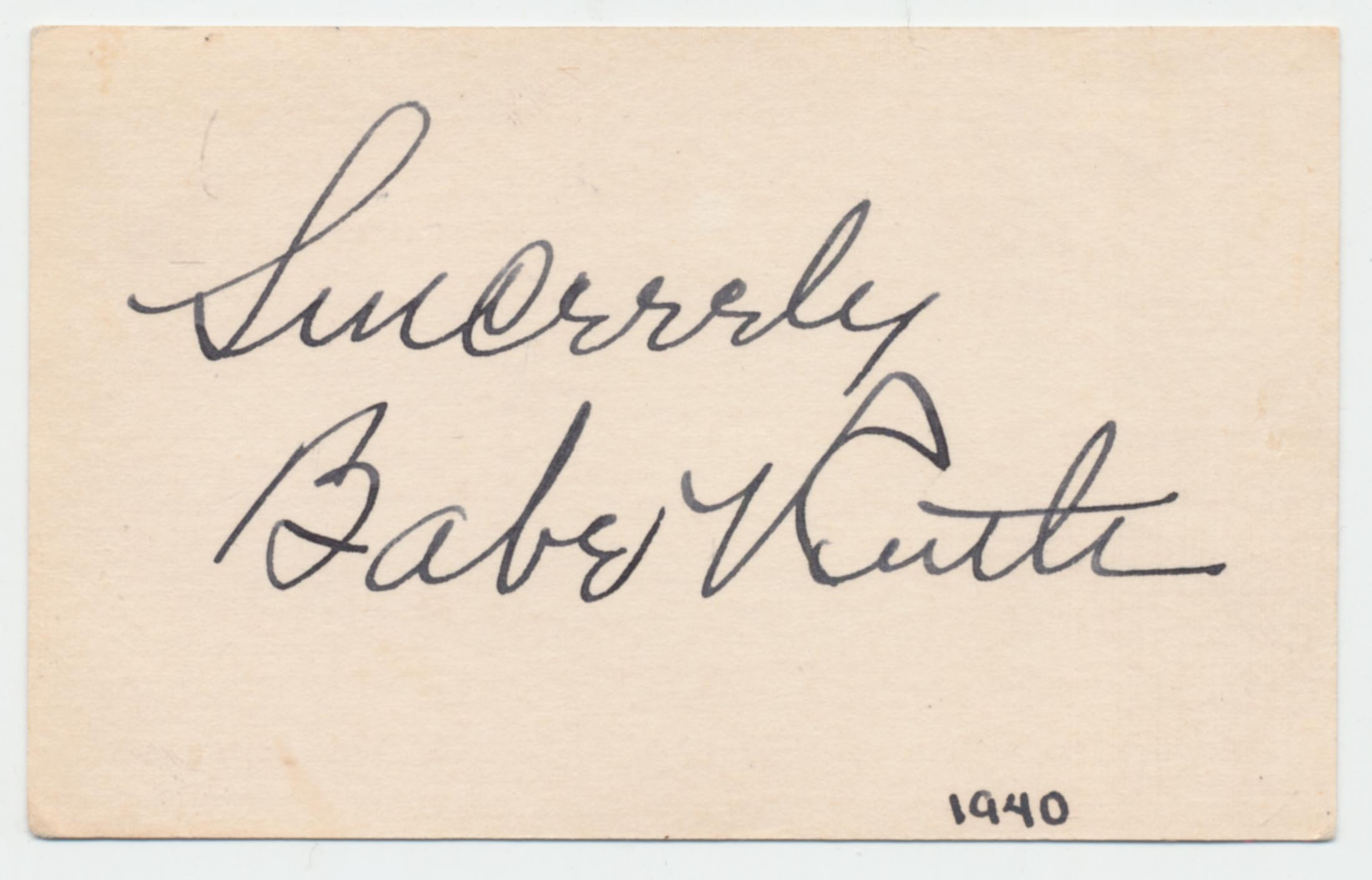 Lot #329  Cut  Ruth, Babe (superb) Cond: 9.5