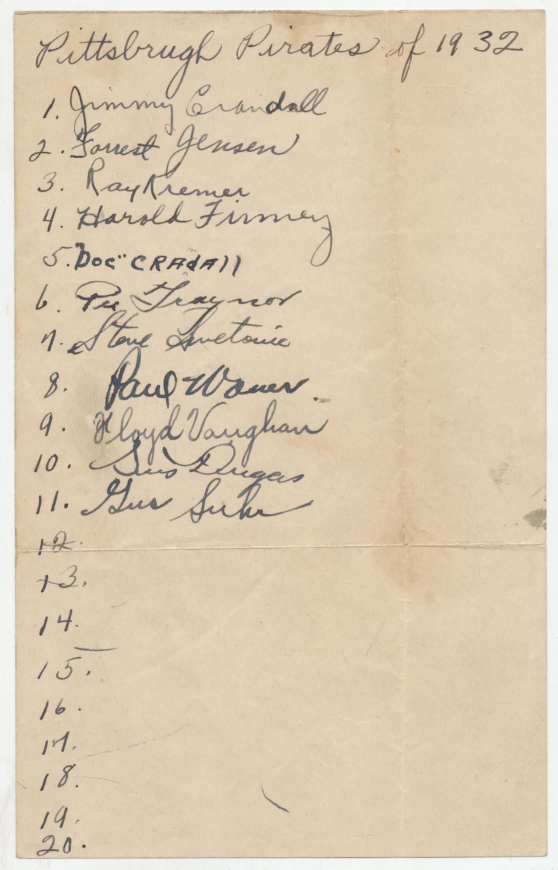 Lot #537  Team Sheet  1932 Pirates w/Waner & Vaughan Cond: 9
