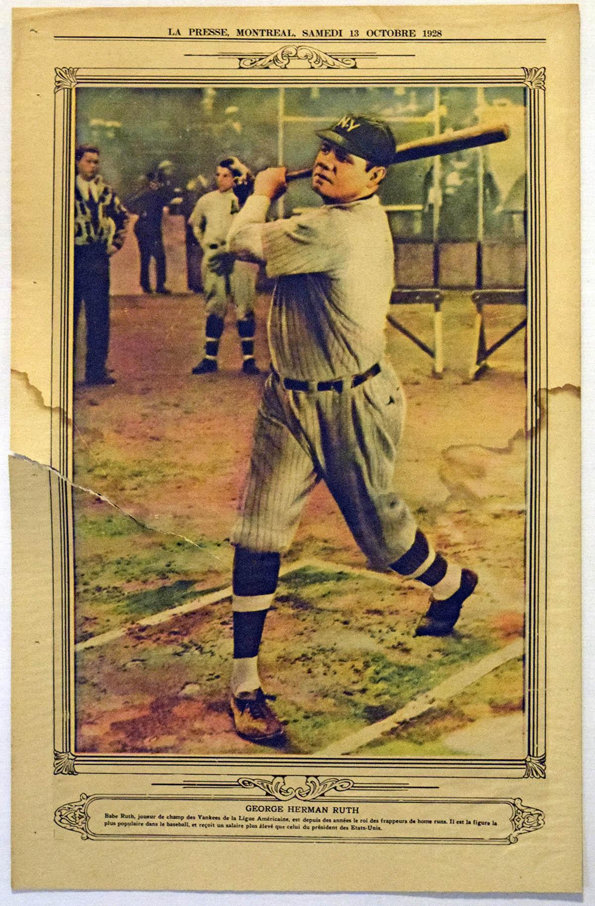 Lot #168 1928 La Presse Premium  Babe Ruth Cond: Good