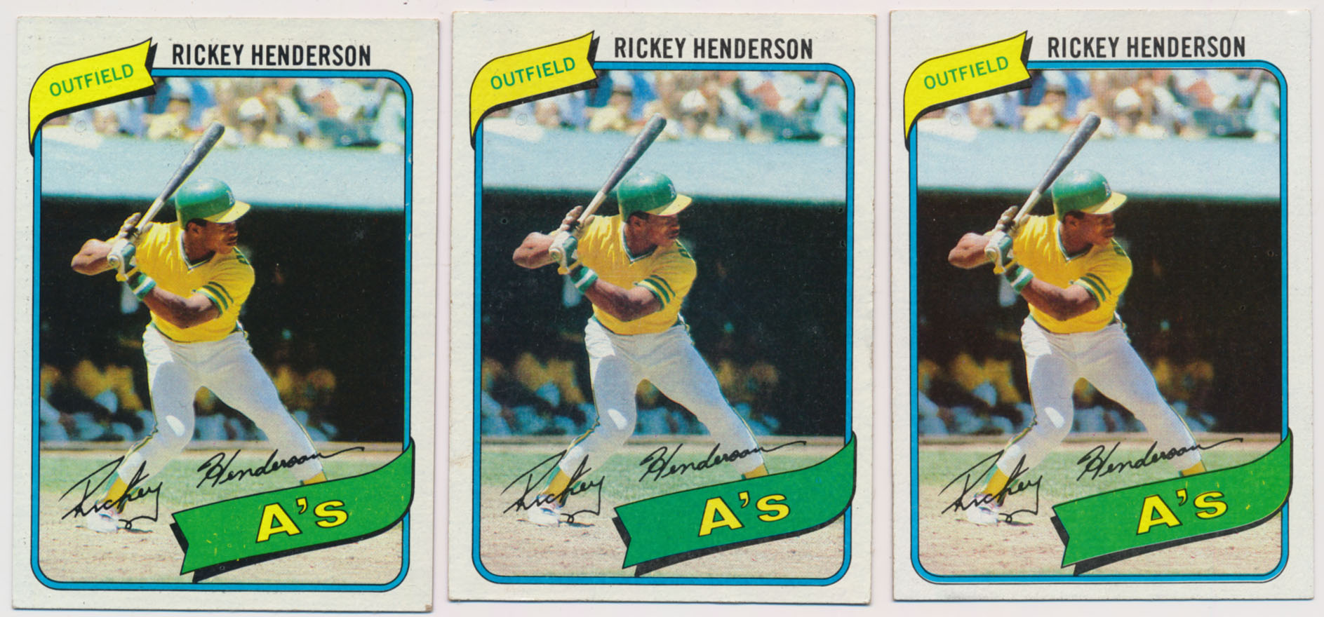 Lot #1009 1980 Topps # 482 R. Henderson RC (lot of 3) Cond: NM