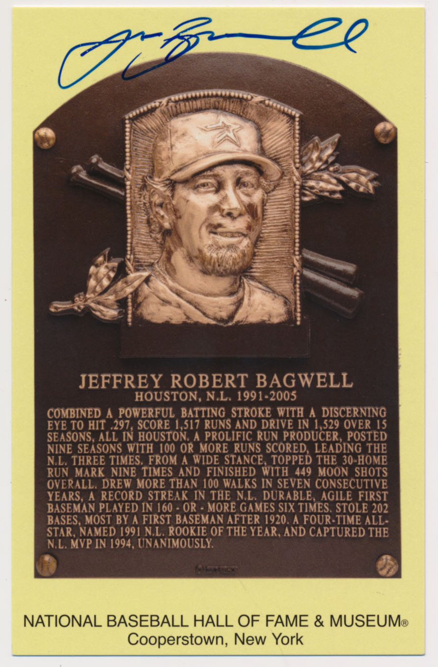 Lot #99  Yellow HOF Plaque  Jeff Bagwell (Tristar) (JSA LOAA) Cond: 9.5