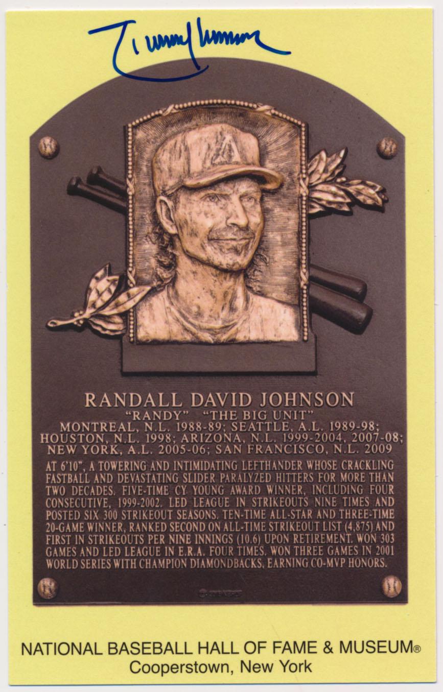 Lot #115  Yellow HOF Plaque  Randy Johnson (JSA LOAA) Cond: 9.5