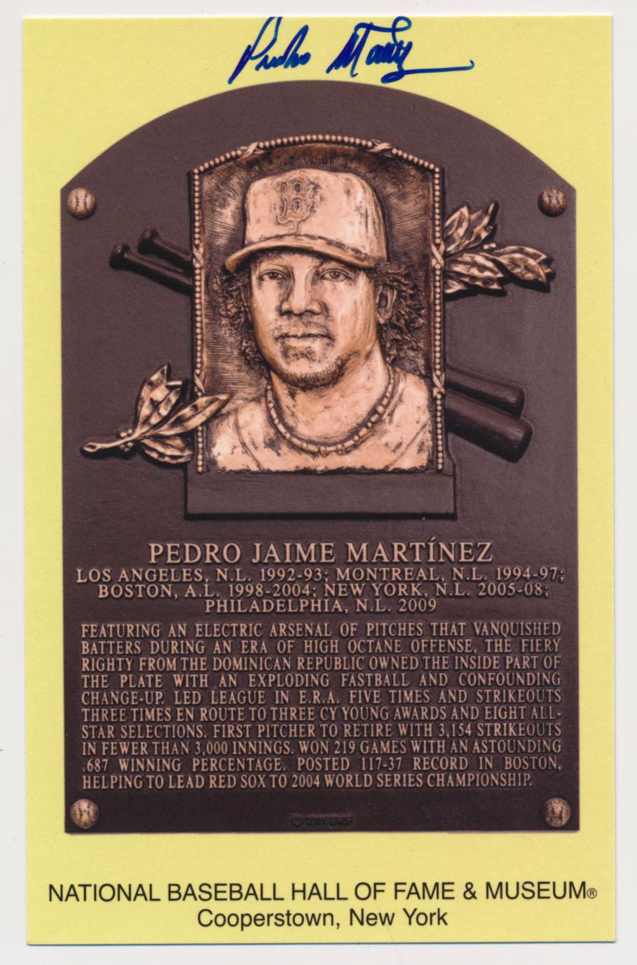 Lot #121  Yellow HOF Plaque  Pedro Martinez Cond: 9.5