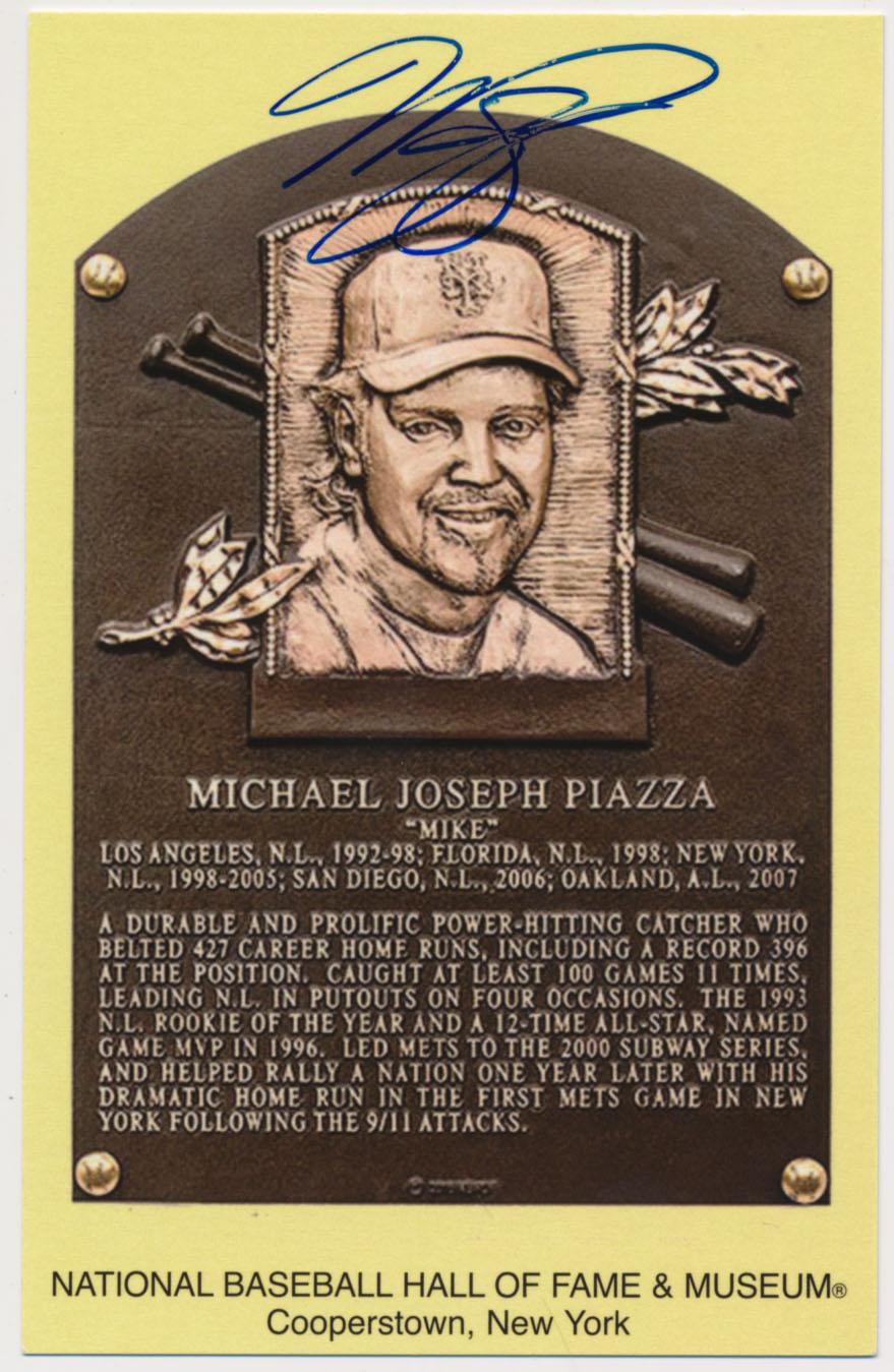 Lot #126  Yellow HOF Plaque  Mike Piazza (w/show ticket) (JSA LOAA) Cond: 9.5