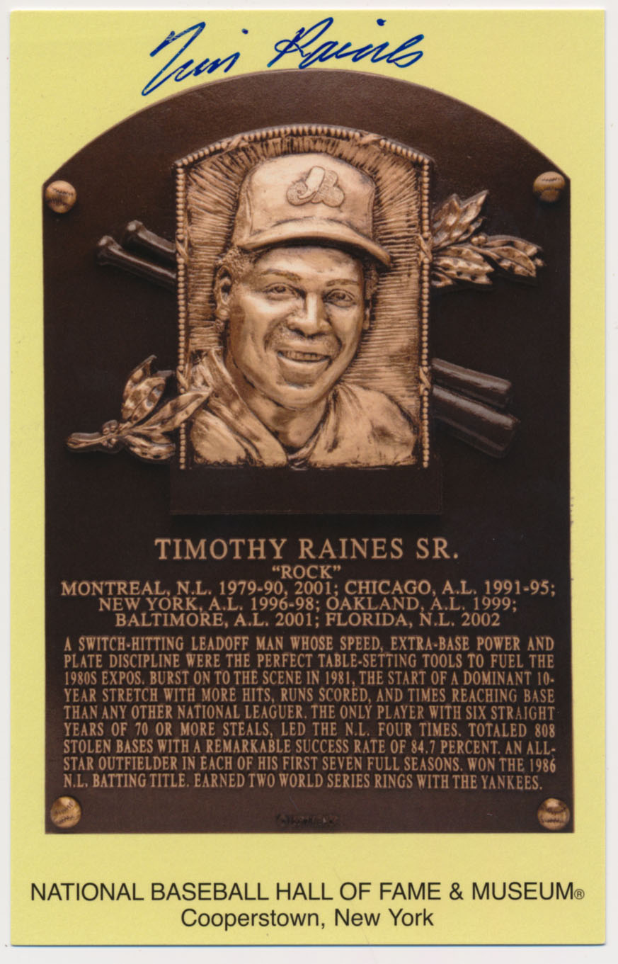 Lot #128  Yellow HOF Plaque  Tim Raines (JSA LOAA) Cond: 9.5