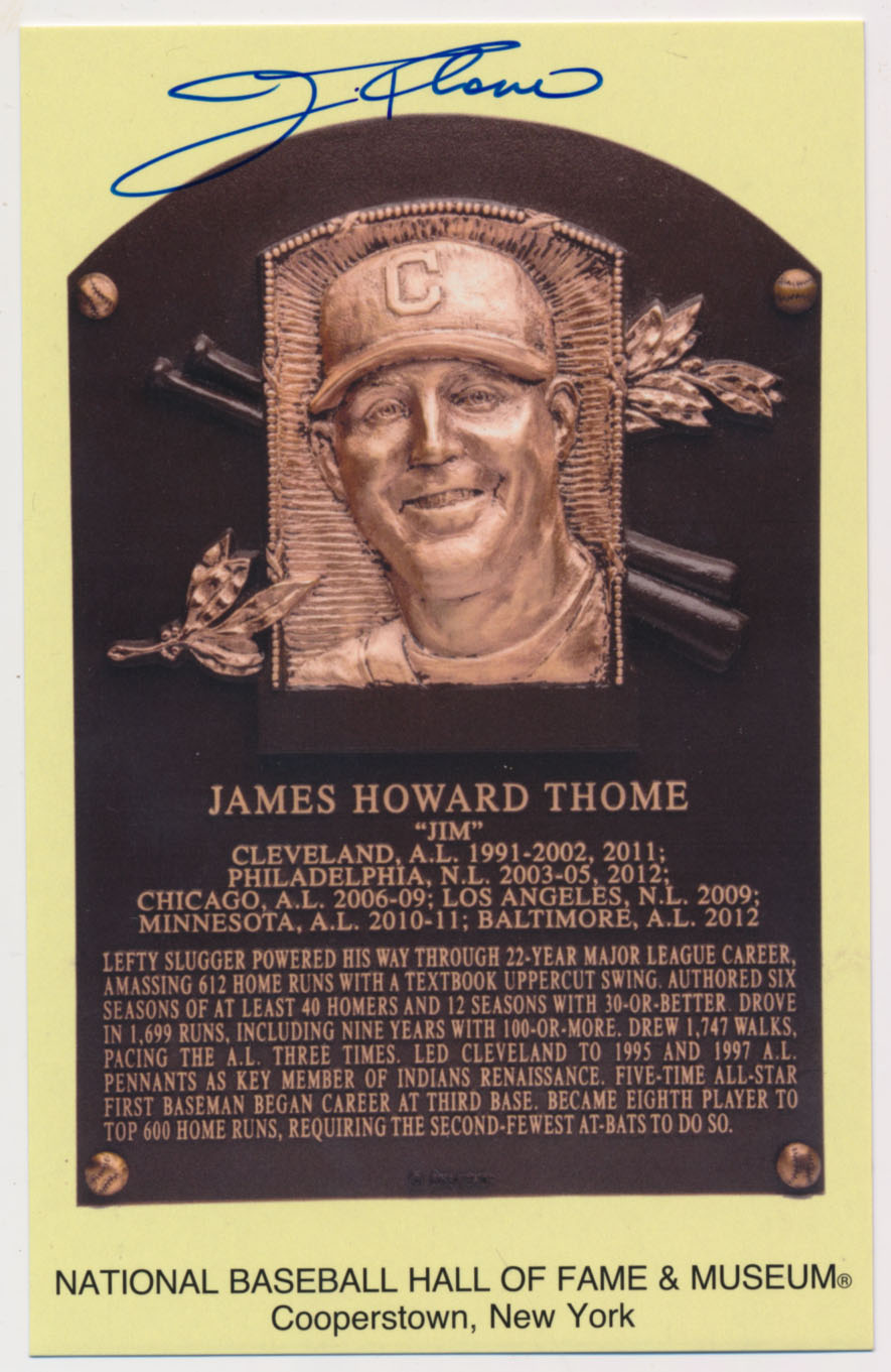Lot #138  Yellow HOF Plaque  Jim Thome (JSA LOAA) Cond: 9.5