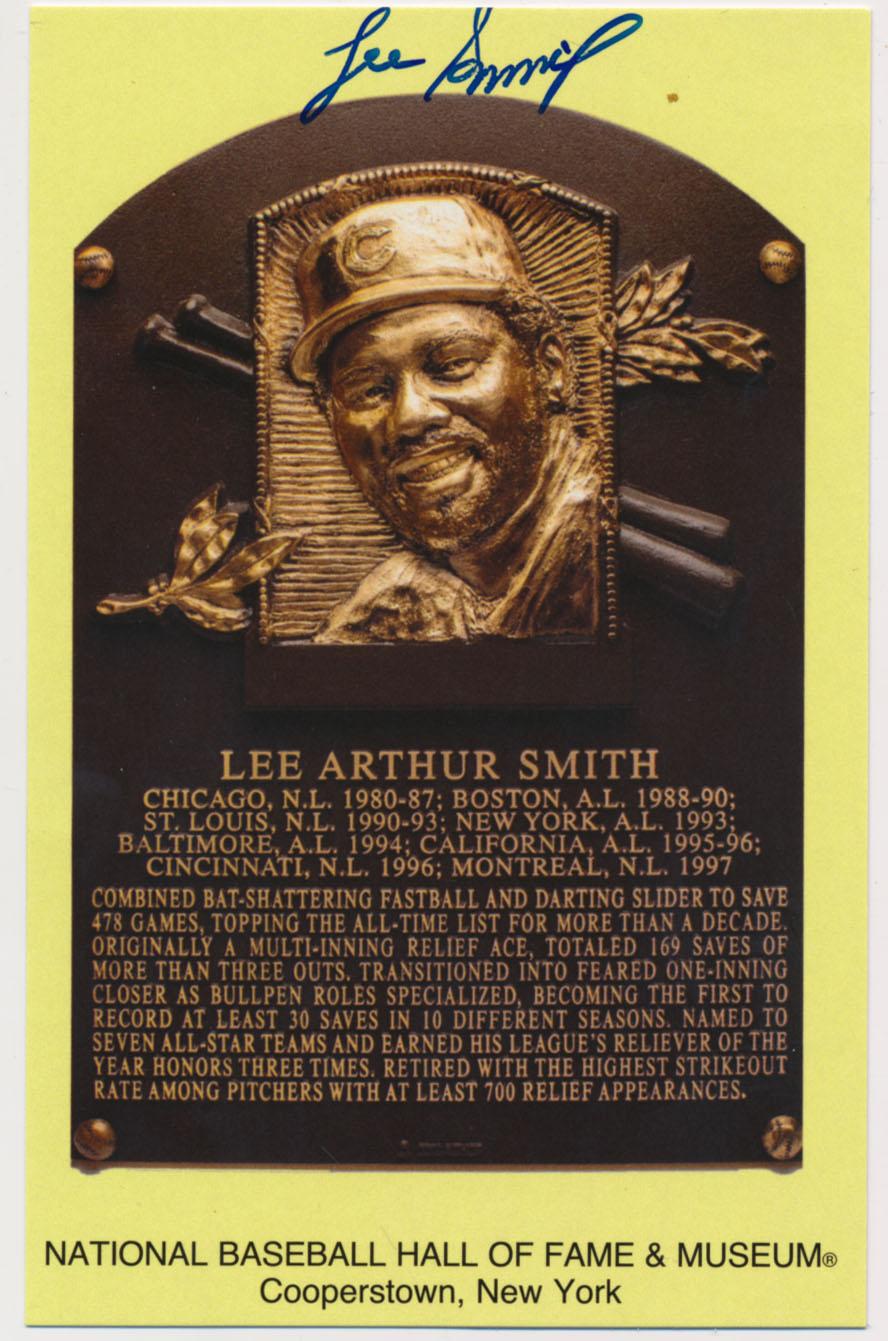 Lot #135  Yellow HOF Plaque  Lee Smith (JSA LOAA) Cond: 9.5