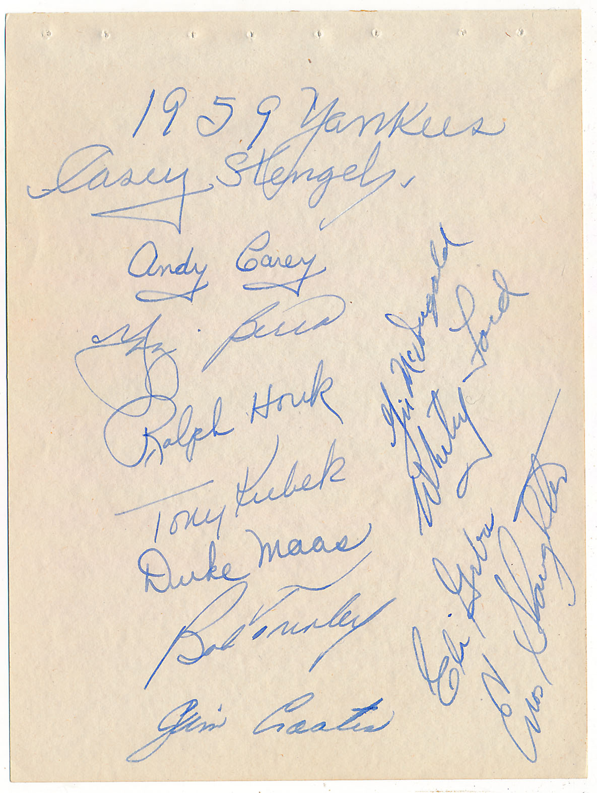 Lot #398  Team Sheet  1959 Yankees (12 sigs) w/Maas & Stengel Cond: 9