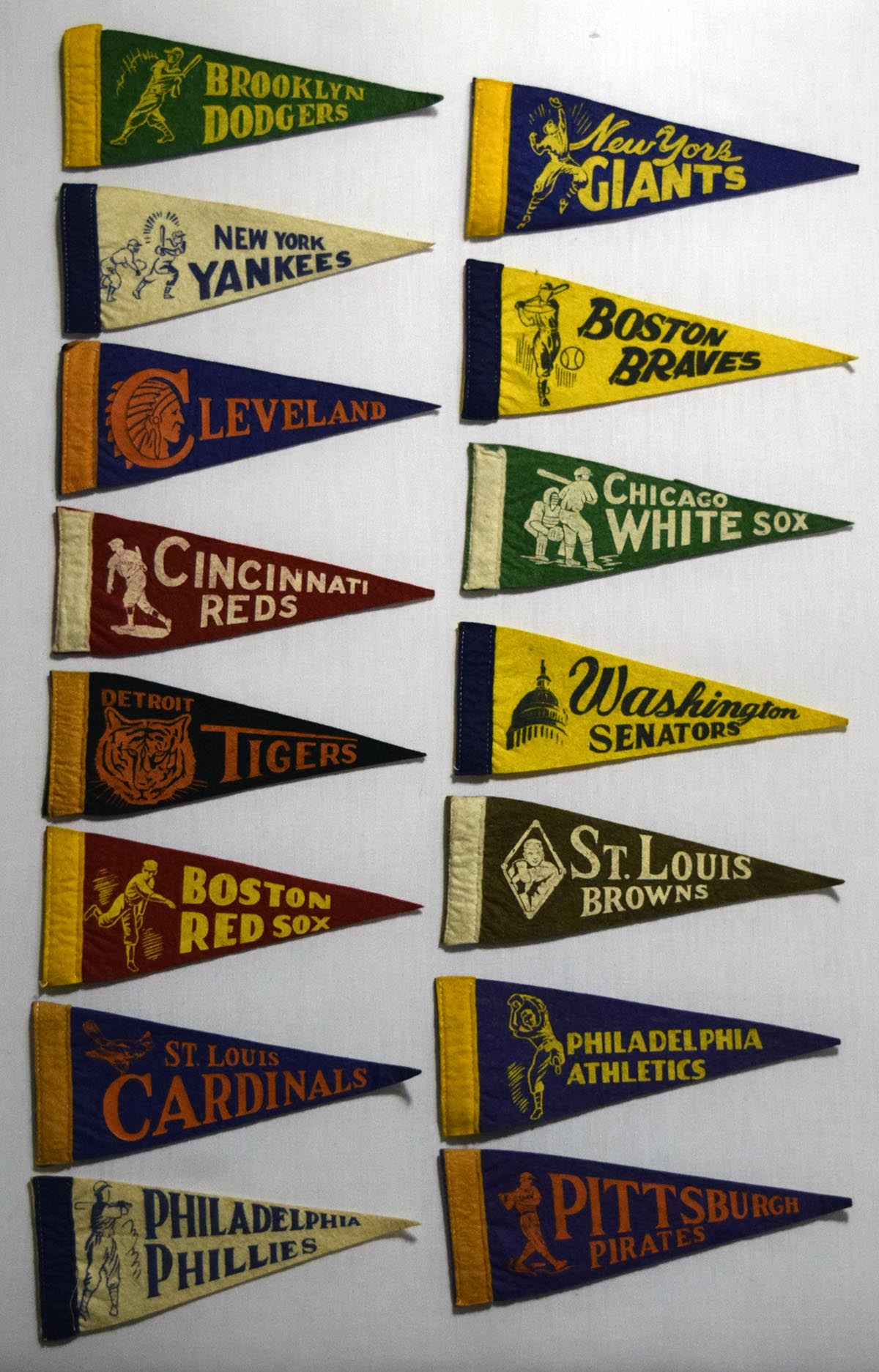 Lot #1288 1940 Pennant  Collection of 15 Mini-Pennants Cond: Ex-Mt