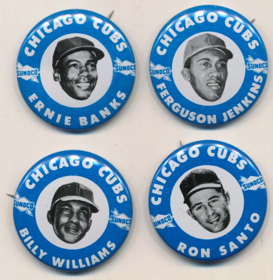 Lot #46 1969 Sunoco Cubs Pins  Complete Set (9 pcs) Cond: NM