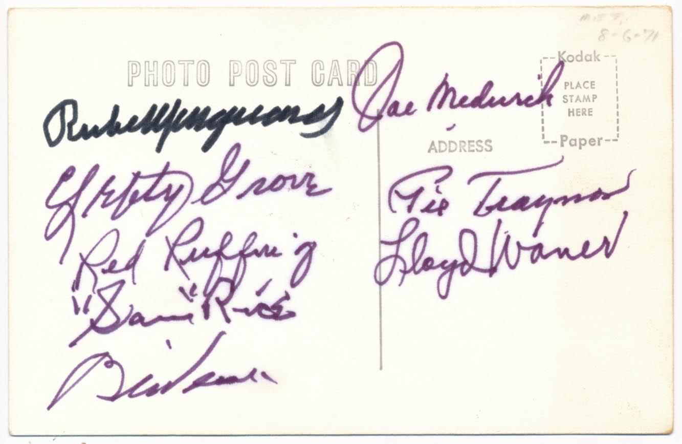 Lot #471  Postcard  1971 HOF Induction Signed Postcard (8 sigs) Cond: 9