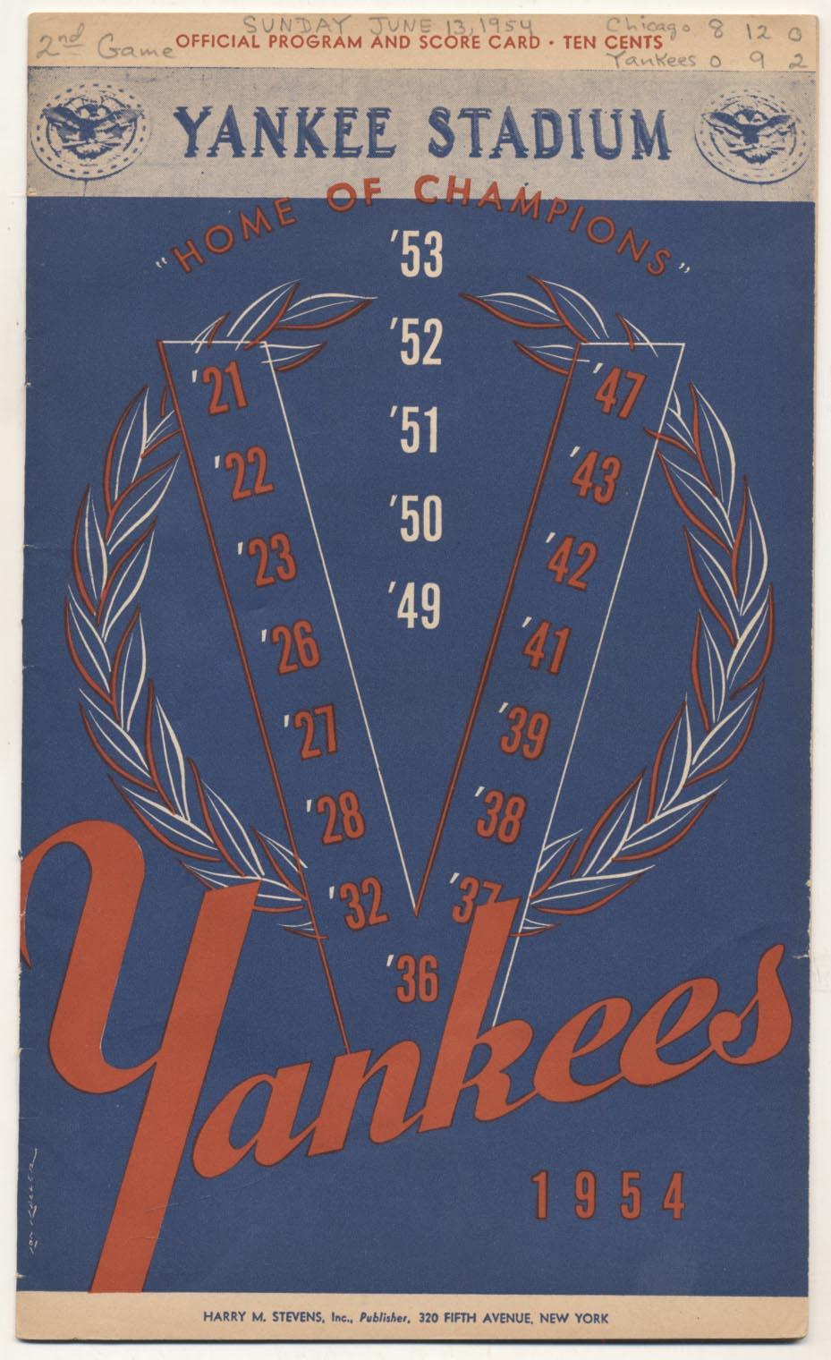 Lot #1471 1954 Scorecard  Yankees (scored vs. White Sox) Cond: Ex