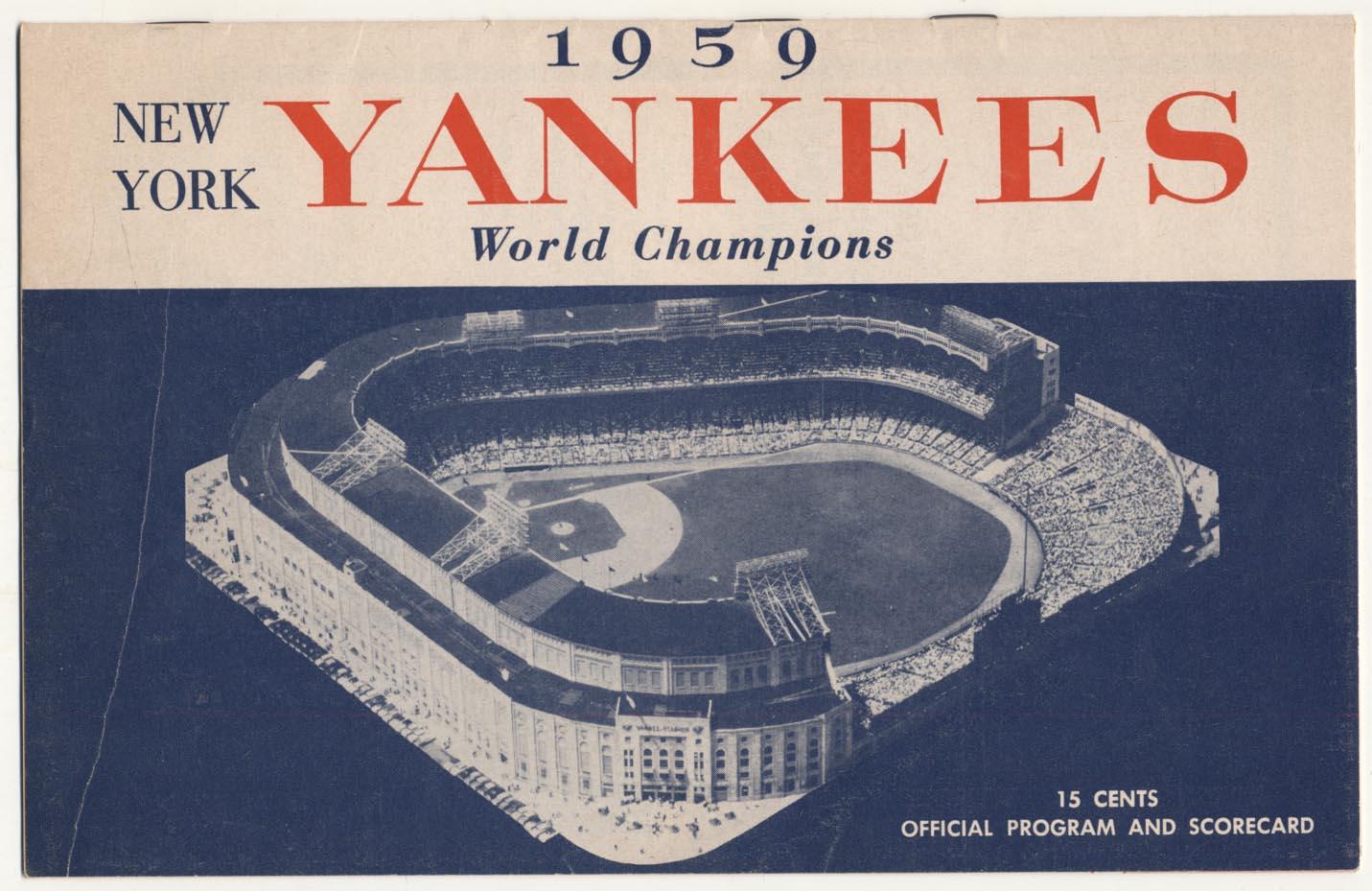 1959 Scorecard  Yankees (scored vs Royals) VG-Ex