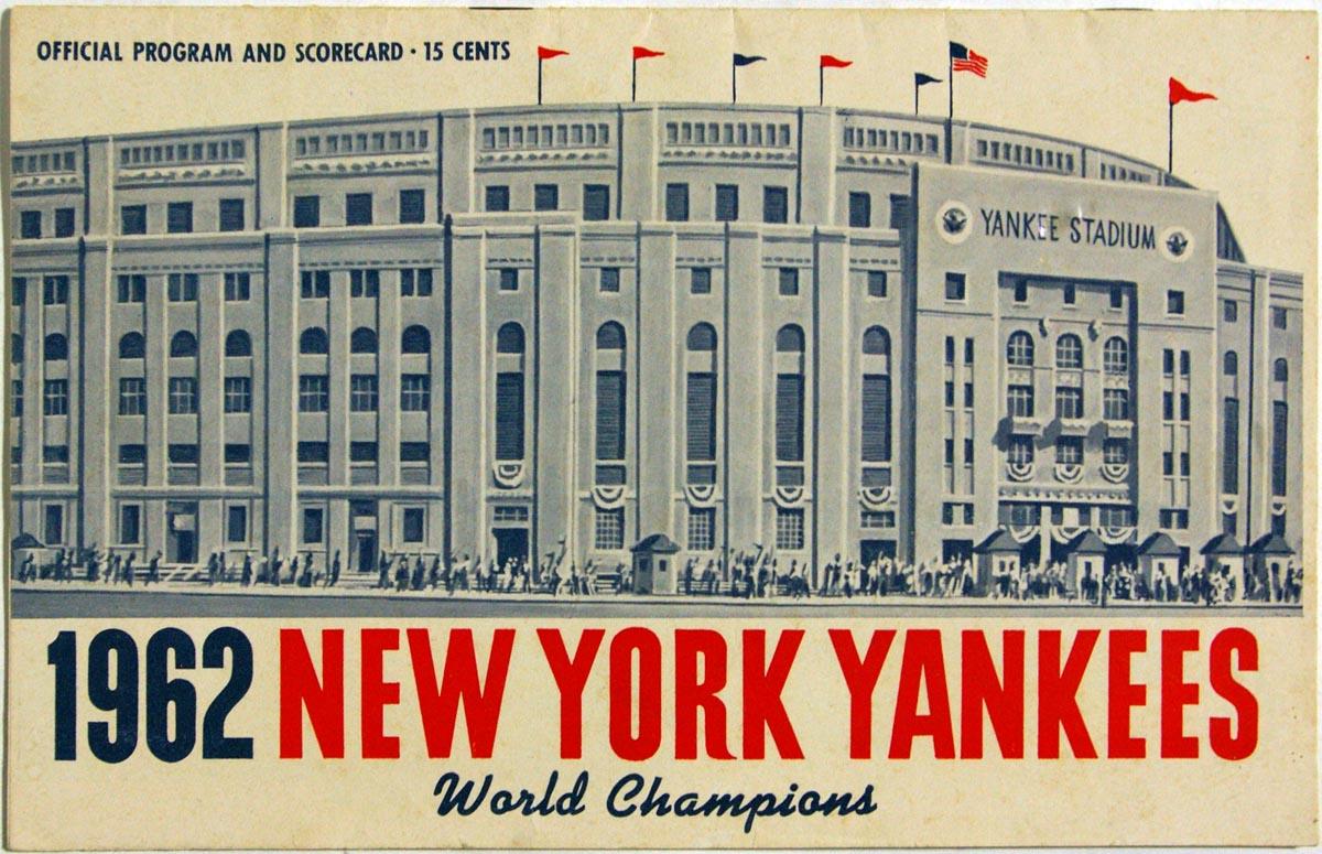 1962 Scorecard  Yankees (unscored vs. White Sox) VG-Ex