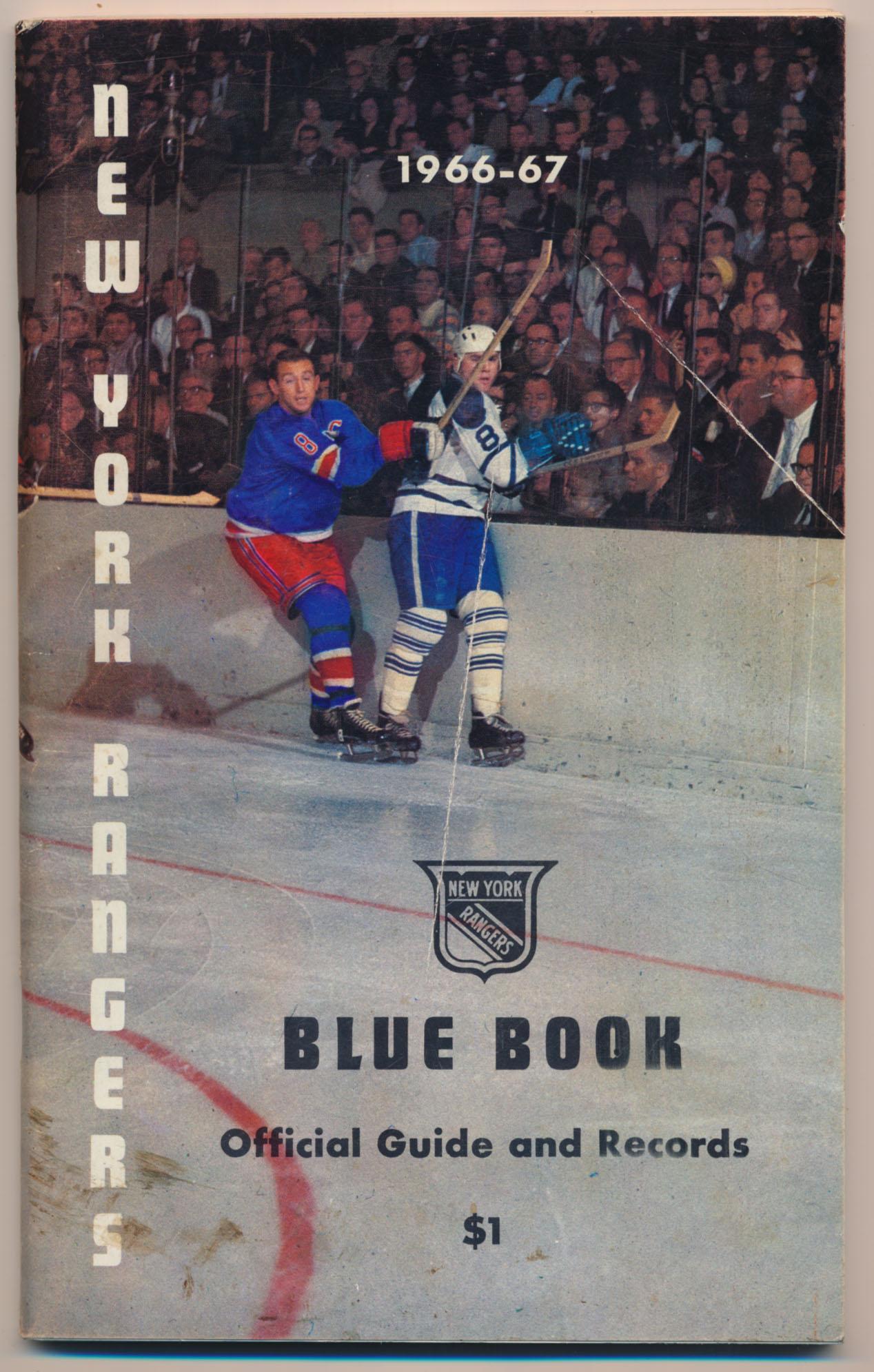 1966 Program  NY Rangers Blue Book Ex